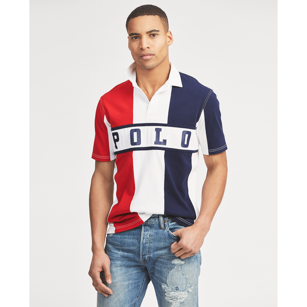 POLO RALPH LAUREN Classic Fit Cotton Rugby Shirt, French Navy-OZNICO