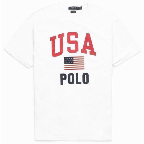 POLO RALPH LAUREN Classic-Fit Graphic Americana T-Shirt, White-OZNICO
