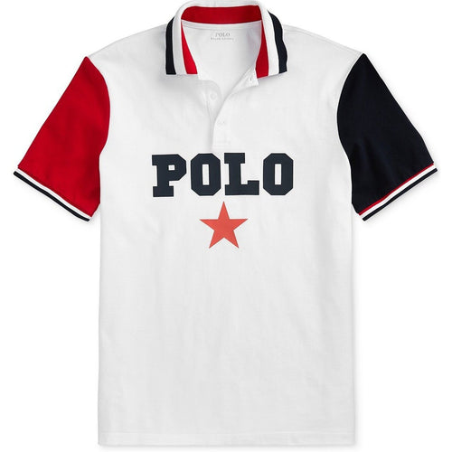 POLO RALPH LAUREN Classic-Fit Mesh Polo Americana Shirt, White Multi-OZNICO