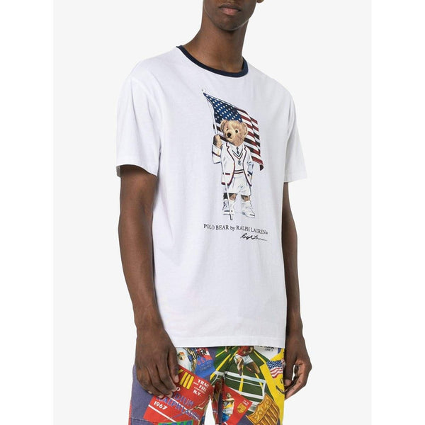 POLO RALPH LAUREN Classic Fit Polo Bear Print T-Shirt, White-OZNICO