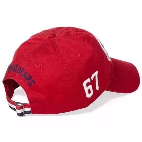 POLO Ralph Lauren Cotton Bear Cap, Ralph Red-OZNICO