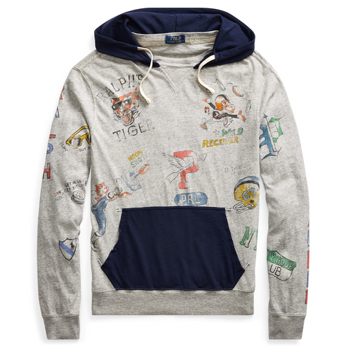 POLO RALPH LAUREN Cotton Jersey Graphic Hoodie, Loft Heather-OZNICO