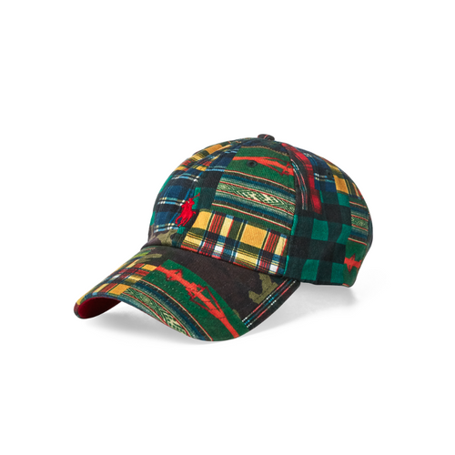 POLO RALPH LAUREN Cotton Patchwork Baseball Cap, Plaid-OZNICO