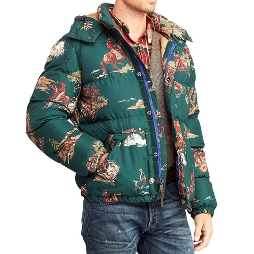 POLO RALPH LAUREN Cowboy Print Water-Repellent Down Jacket, Colorodo Cowboy-OZNICO