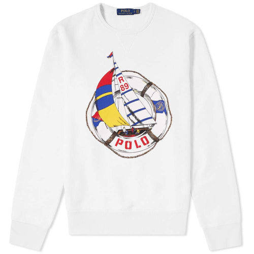 POLO RALPH LAUREN CP-93 Cotton-Blend Sweatshirt, Deckwash White-OZNICO