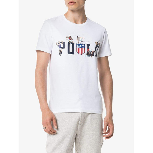 POLO RALPH LAUREN Custom Slim Fit Graphic Chariots T-Shirt, White-OZNICO