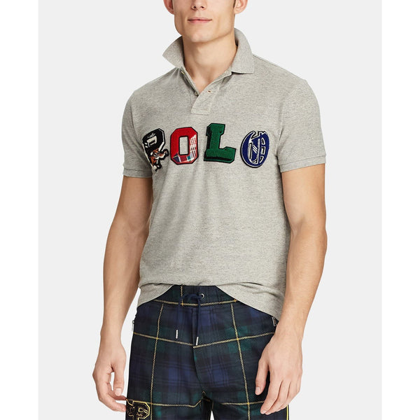 POLO RALPH LAUREN Custom Slim Fit Mesh Polo Shirt, Grey-OZNICO