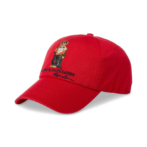 POLO RALPH LAUREN Dive Bear Cotton Chino Cap, Red-OZNICO