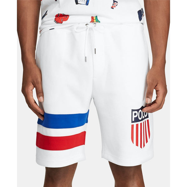 POLO RALPH LAUREN Double-Knit Chariots Shorts, White-OZNICO