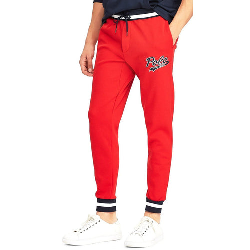 POLO RALPH LAUREN Double-Knit Graphic Jogger Pants, Red-OZNICO