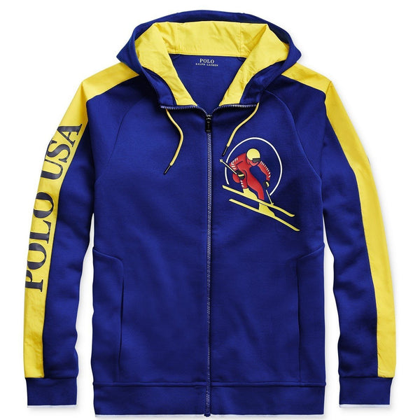 POLO RALPH LAUREN Downhill Skier Double-Knit Hoodie, Blue-OZNICO