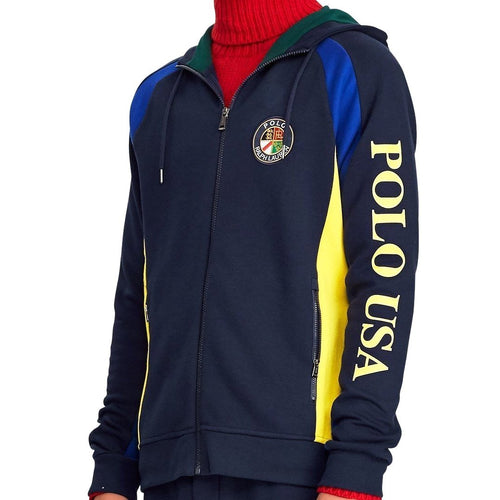 POLO RALPH LAUREN Downhill Skier Double-Knit Hoodie, Navy-OZNICO