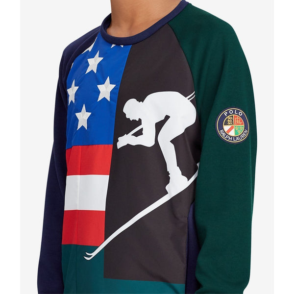 POLO RALPH LAUREN Downhill Skier Double-Knit Sweatshirt, Navy/ Green-OZNICO