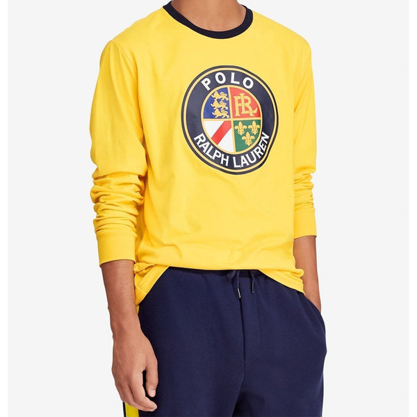 POLO RALPH LAUREN Downhill Skier Graphic Long-Sleeve T-Shirt, Yellow-OZNICO