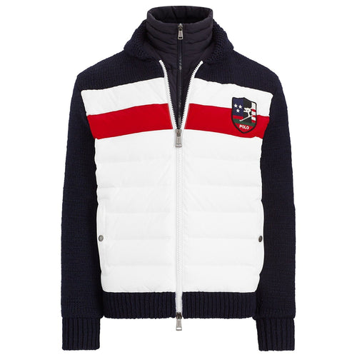 POLO RALPH LAUREN Downhill Skier Hybrid Jacket, White/ Navy-OZNICO