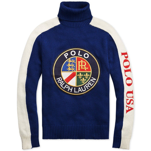 POLO RALPH LAUREN Downhill Skier Wool Graphic Turtleneck Sweater, Blue-OZNICO