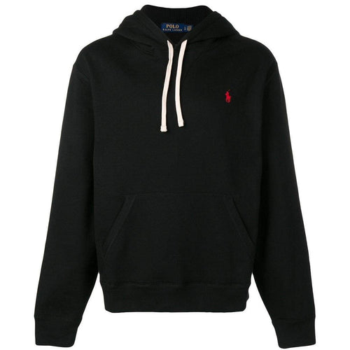 POLO RALPH LAUREN Embroidered Logo Hoodie, Black-OZNICO