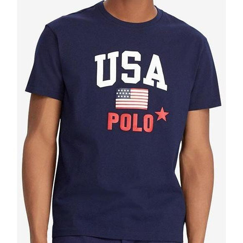POLO RALPH LAUREN Flag Print T-Shirt, Navy-OZNICO