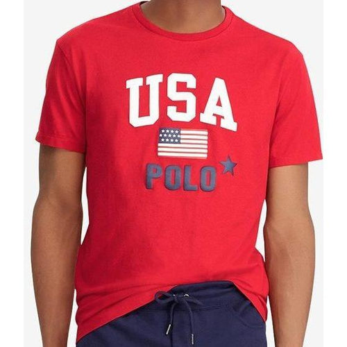 POLO RALPH LAUREN Flag Print T-Shirt, Red-OZNICO