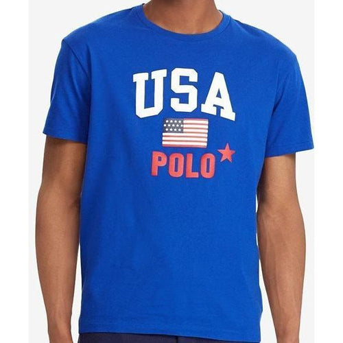 POLO RALPH LAUREN Flag Print T-Shirt, Royal Blue-OZNICO