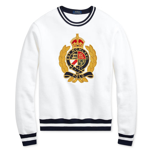 POLO RALPH LAUREN Fleece Graphic Crest Sweatshirt, White-OZNICO