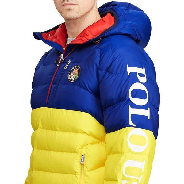 POLO RALPH LAUREN Glacier Hooded Down Pullover, Blue/ Yellow-OZNICO