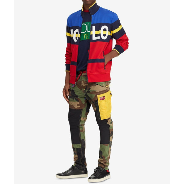 POLO RALPH LAUREN Hi Tech Double-Knit Track Jacket, Red/ Multi-OZNICO