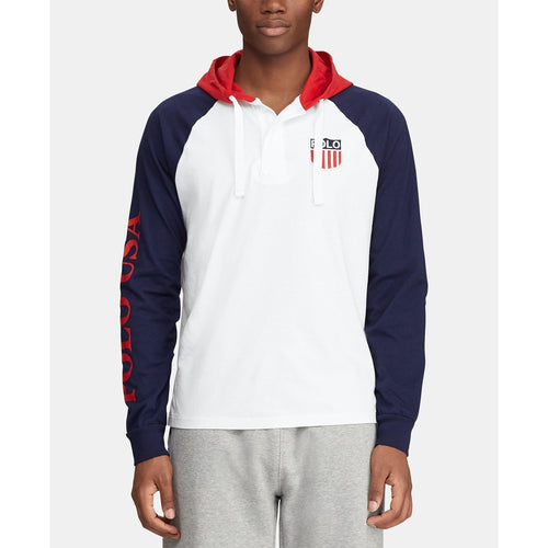 POLO RALPH LAUREN Hooded Rugby Chariots Shirt, White-OZNICO