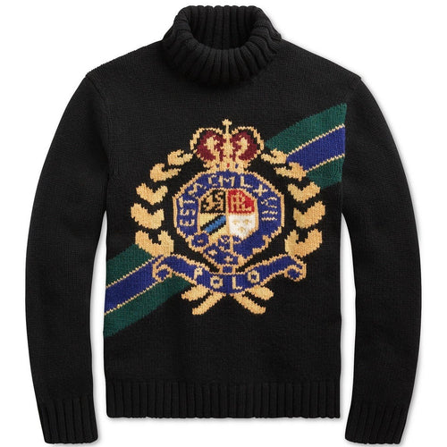 POLO RALPH LAUREN Intarsia Crest Wool Turtleneck Sweater, Black-OZNICO