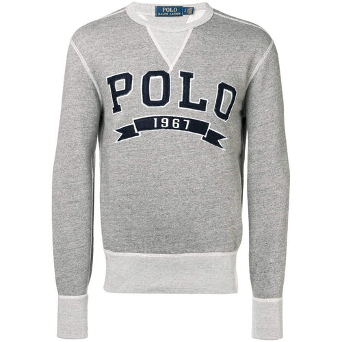 POLO RALPH LAUREN Logo Embroidered Sweatshirt, Grey-OZNICO
