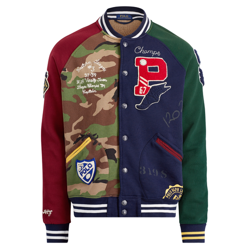 POLO RALPH LAUREN Patchwork Baseball Jacket, Cruise Navy Multi-OZNICO