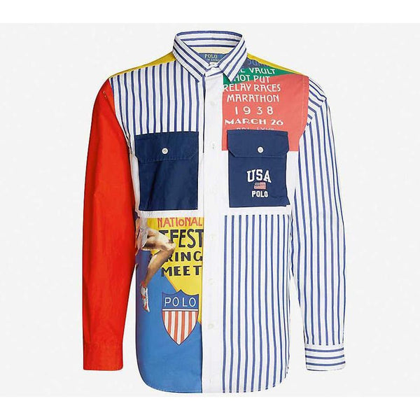 POLO RALPH LAUREN Patchwork-Panel Custom-Fit Cotton Shirt, Multi-OZNICO