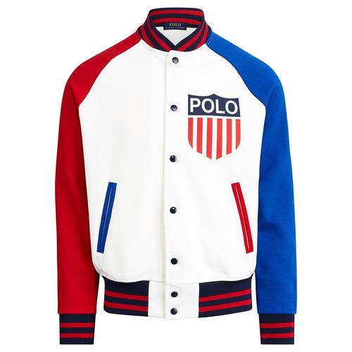 POLO RALPH LAUREN Polo Shield Chariots Baseball Jacket, White-OZNICO