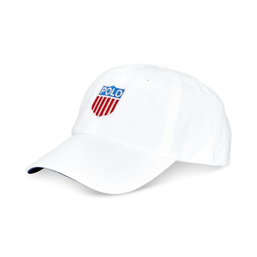 POLO RALPH LAUREN Polo Shield Twill Chariots Cap, White-OZNICO