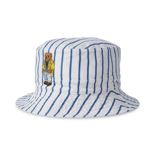 POLO RALPH LAUREN Reversible Crested Polo Bear Bucket Hat, Blue/ White-OZNICO