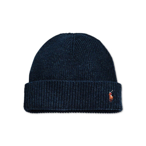 POLO RALPH LAUREN Signature Merino Cuff Hat, Dark Denim Blue-OZNICO