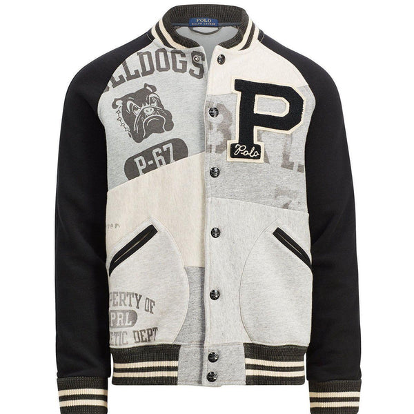 POLO RALPH LAUREN Stadium Patchwork Varsity Jacket, Heather-OZNICO