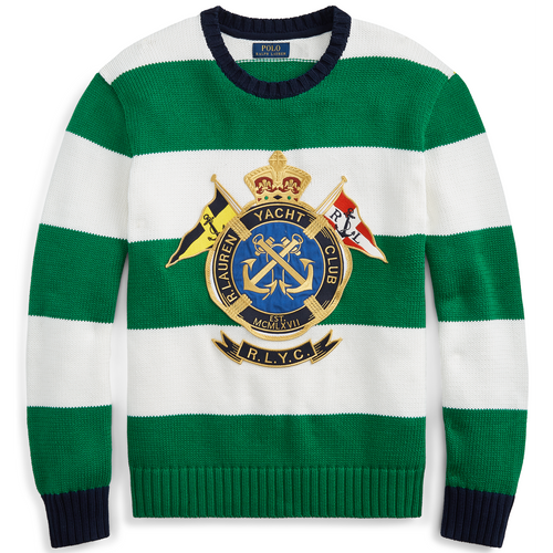 POLO RALPH LAUREN Striped Cotton Sweater, Green/ White-OZNICO