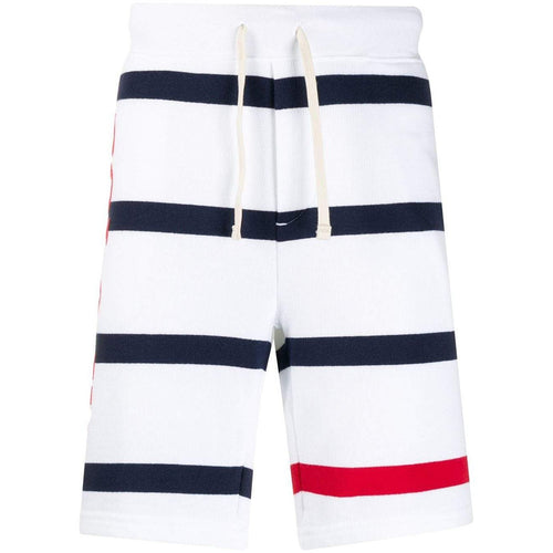 POLO RALPH LAUREN Striped French Terry Americana Shorts, White-OZNICO