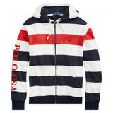 POLO RALPH LAUREN Striped Terry Americana Hoodie, Aviator Navy/ Multi-OZNICO