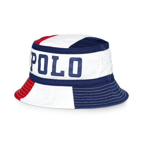 POLO RALPH LAUREN Twill Chariots Bucket Hat, Red/ White/ Blue-OZNICO
