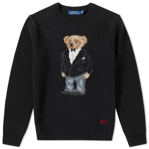 POLO RALPH LAUREN Wool Blend Bear Knit Sweater, Black-OZNICO