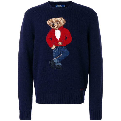 POLO RALPH LAUREN Wool Blend Bear Sweater, Navy-OZNICO