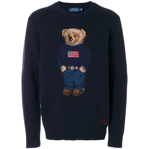 POLO RALPH LAUREN Wool Blend Knit Bear Sweater, Navy-OZNICO