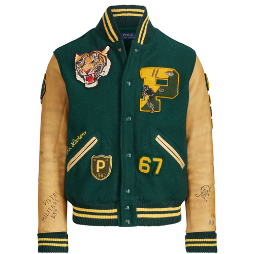 POLO RALPH LAUREN Wool-Blend Letterman Jacket, College Green-OZNICO