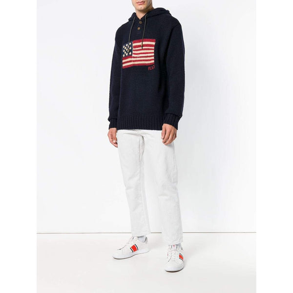 POLO RALPH LAUREN Wool Blend USA Flag Hoodie, Navy-OZNICO