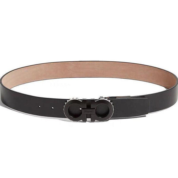 SALVATORE FERRAGAMO Adjustable Spike Gancini Belt, Black-OZNICO
