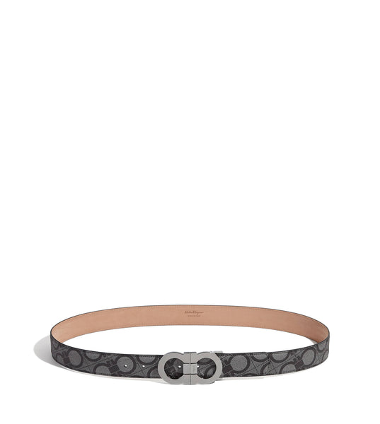 SALVATORE FERRAGAMO Double Gancini Belt, Black Light Fabric-OZNICO
