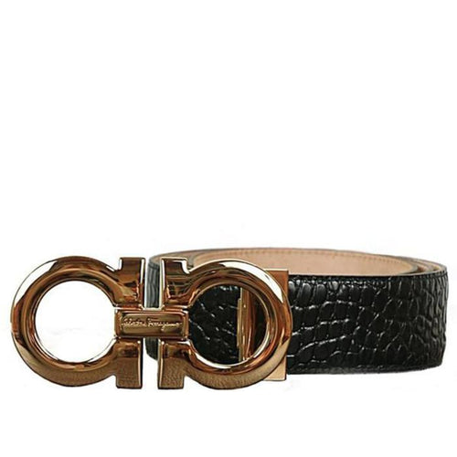 SALVATORE FERRAGAMO Double Gancini Calf Croc Belt, Black/ Gold-OZNICO