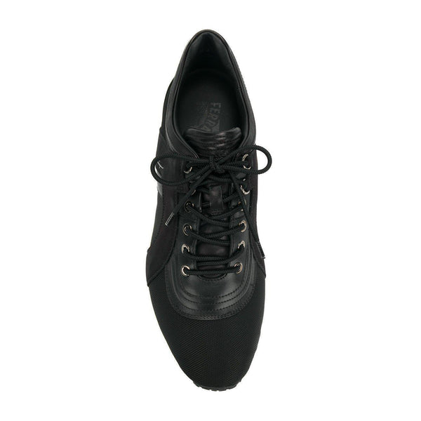 SALVATORE FERRAGAMO Low Top Sneaker, Black-OZNICO